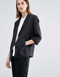 Selected Gavina Blazer With 3 4 Length Sleeves Black
