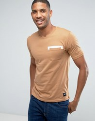 Only And Sons T Shirt With Pocket Print Tobacco Brown Black