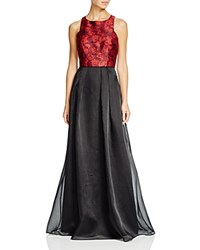Aidan Mattox Sleeveless Jacquard Bodice And Organza Skirt Gown Red Multi