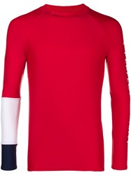 Perfect Moment Panelled Sleeve Rash Guard Red