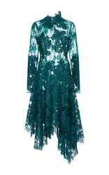 Costarellos Guipure And Chantilly Lace Asymmetrical Dress Dark Green