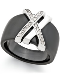 Macy's Diamond 1 4 Ct. T.W. Double X Black Ceramic Ring With Sterling Silver