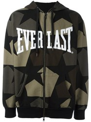 Ports 1961 Camouflage Print Zipped Hoodie Green