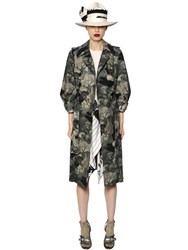 Antonio Marras Printed Georgette And Cotton Canvas Coat