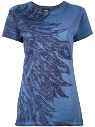 Diesel Feathers Print T Shirt Blue