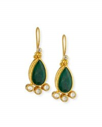 Gurhan Elements Teardrop Emerald And Diamond Drop Earrings