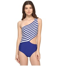 Michael Michael Kors Stable Stripe One Shoulder Cut Out One Piece Dark Azurite Women's Swimsuits One Piece Blue