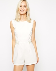 Ax Paris Playsuit With Gold Trim And Mesh Inserts Cream