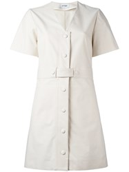 Courreges V Neck Shirt Dress White