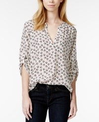 Maison Jules Roll Tab Sleeve Floral Print Blouse Only At Macy's Egret Combo