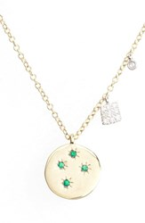 Meira T Women's Diamond And Gemstone Pendant Necklace Yellow Gold Emerald