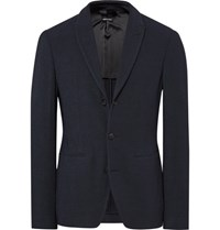 Giorgio Armani Blue Ginza Slim Fit Textured Knit Blazer Blue