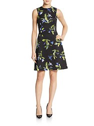 Marc New York Floral Print Scuba Fit And Flare Dress Black Multi