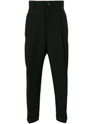 Haider Ackermann Drop Crotch Tailored Trousers Men Cotton Rayon Virgin Wool 48 Black