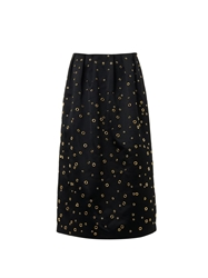Adam By Adam Lippes Eyelet Detail Satin Midi Skirt
