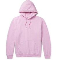Sasquatchfabrix. Distressed Fleece Back Cotton Blend Jersey Hoodie Pink