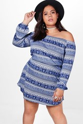 Boohoo Ellie Elephant Paisley Print Off The Shoulder Dress Blue