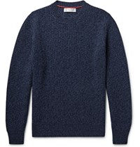 Brunello Cucinelli Ribbed Melange Virgin Wool Cashmere And Silk Blend Sweater Storm Blue