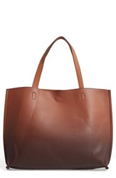 Street Level Reversible Faux Leather Tote Brown Tan
