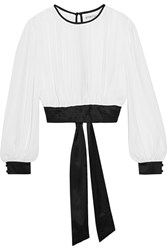 Alice Olivia Dakota Cropped Georgette And Stretch Silk Satin Top White