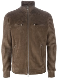 Brunello Cucinelli Ribbed Knit Sleeve Jacket Brown