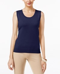 August Silk Scoop Neck Shell Newport Navy