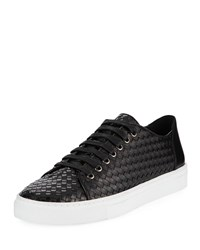 Donald J Pliner Alto Textured Leather Lace Up Sneakers Black
