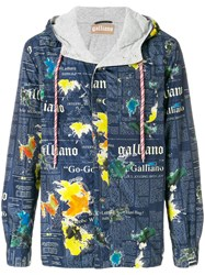 John Galliano Lettering Print Hooded Jacket Blue