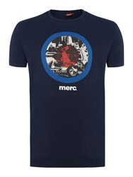 Merc Men's Granville Short Sleeve Target Scooter T Shirt Navy