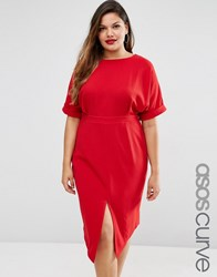 Asos Curve Wiggle Dress With Cut Out Back Red