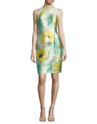 Carmen Marc Valvo Floral Print Satin Twill Sheath Dress Turquoise