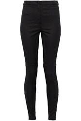 Versace Mesh Paneled Lace Trimmed Cotton Blend Twill Skinny Pants Black