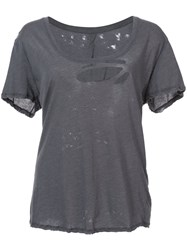 Unravel Project Distressed T Shirt Women Cotton S Grey