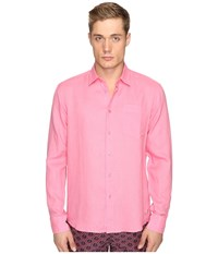 Vilebrequin Linen Long Sleeve Button Up Pink Men's Swimwear