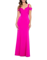 Decode 1.8 Solid Cold Shoulder Flared Gown Fuchsia