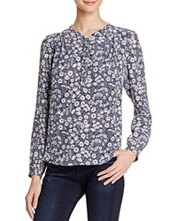 Rebecca Taylor Laine Floral Print Silk Blouse Navy Combo
