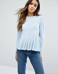Warehouse Frill Hem Jumper Blue
