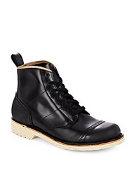 Diesel Lace Up Leather Boots Black