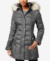 Betsey Johnson Faux Fur Trim Quilted Puffer Coat Steel