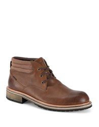 Andrew Marc New York Wilson Two Tone Leather Boots Rust
