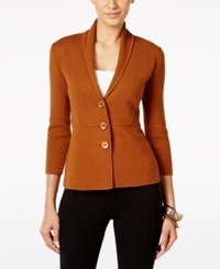 Alfani Three Button Knit Jacket Only At Macy's Brushed Sienna