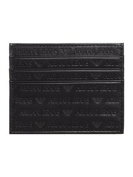Armani Jeans Leather All Over Embossed Logo Credit Card Holder Black