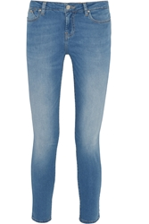 Karl Lagerfeld Kate Denim Effect Stretch Cotton Leggings Blue
