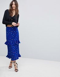Fashion Union Tiered Midi Skirt In Ditsy Floral Electric Blue