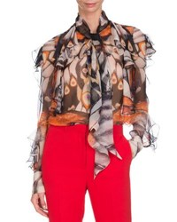 Givenchy Butterfly Print Chiffon Blouse Multi