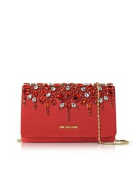 Love Moschino Satin And Crystals Evening Clutch W Chain Red