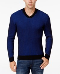 Alfani Men's V Neck Waffle Knit Sweater Regular Fit Blazing Blue Combo
