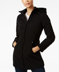 Laundry By Shelli Segal Faux Fur Lined Quilted Coat Black