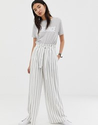 Asos Design Linen Wide Leg Trousers With Paperbag Waist And Belt In Stripe Multi