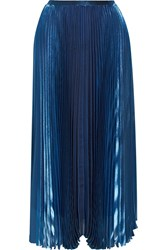 Mason By Michelle Mason Metallic Plisse Satin Midi Skirt Blue